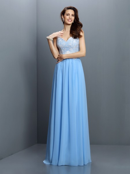 A-Line/Princess Sleeveless Lace Floor-Length V-neck Straps Chiffon Bridesmaid Dresses