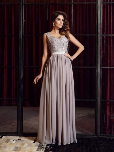 A-Line/Princess Sleeveless Applique Floor-Length Straps Chiffon Dresses