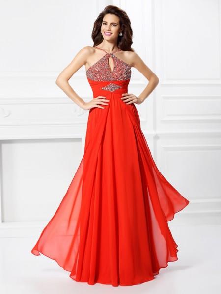A-Line/Princess Sleeveless Beading Floor-Length Chiffon Dresses