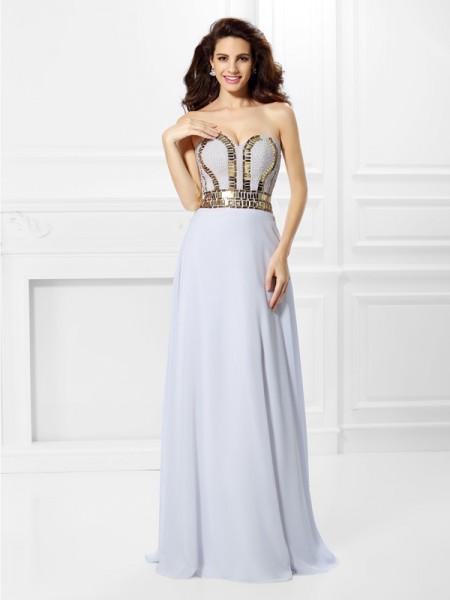 Empire Sleeveless Pleats Floor-Length Sweetheart Chiffon Dresses