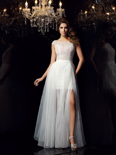 A-Line/Princess Short Sleeves Beading Floor-Length Scoop Tulle Dresses
