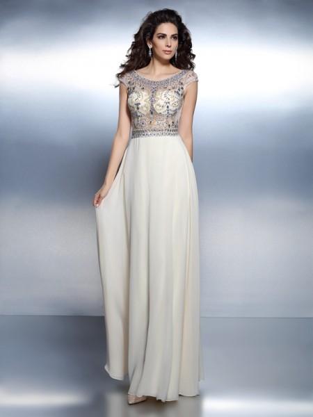 A-Line/Princess Short Sleeves Beading Floor-Length Bateau Chiffon Dresses