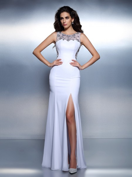 Trumpet/Mermaid Sleeveless Beading Floor-Length Bateau Chiffon Dresses