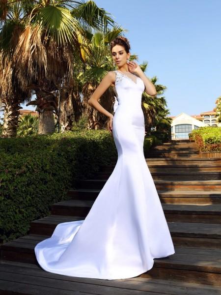 Trumpet/Mermaid Sleeveless Beading Court Train Scoop Satin Dresses