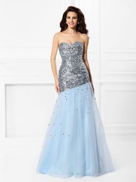 Trumpet/Mermaid Sleeveless Sequin Floor-Length Sweetheart Satin Dresses