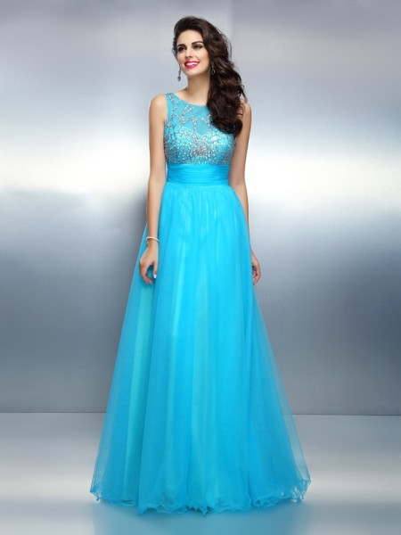 A-Line/Princess Sleeveless Beading Floor-Length Bateau Elastic Woven Satin Dresses