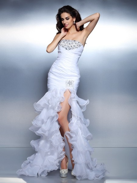 Trumpet/Mermaid Sleeveless Beading Ruched Floor-Length Strapless Organza Dresses