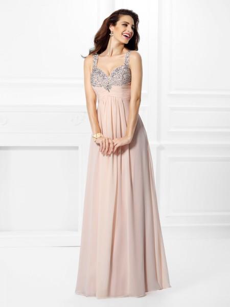 A-Line/Princess Sleeveless Beading Floor-Length Straps Chiffon Dresses