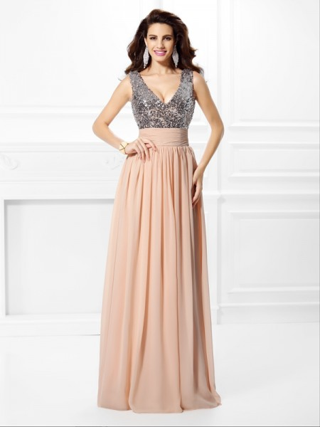 A-Line/Princess Sleeveless Paillette Floor-Length V-neck Chiffon Dresses