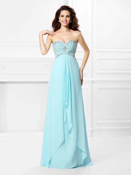 A-Line/Princess Sleeveless Beading Floor-Length Sweetheart Chiffon Dresses