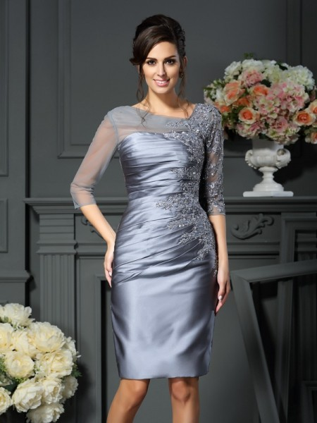 Sheath/Column 1/2 Sleeves Beading Knee-Length Scoop Satin Mother of the Bride Dresses