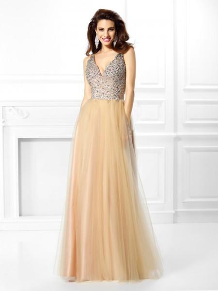 Ball Gown Sleeveless Beading Sequin Floor-Length V-neck Satin Dresses