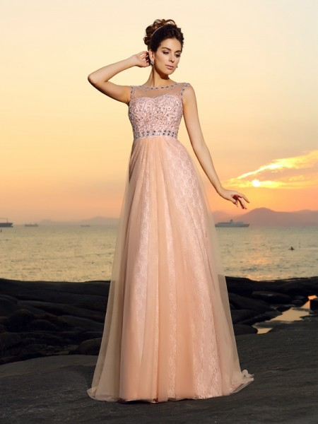 A-Line/Princess Sleeveless Lace Floor-Length Bateau Chiffon Dresses