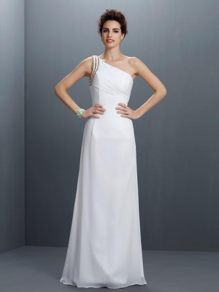 Sheath/Column Sleeveless Beading Floor-Length One-Shoulder Chiffon Dresses