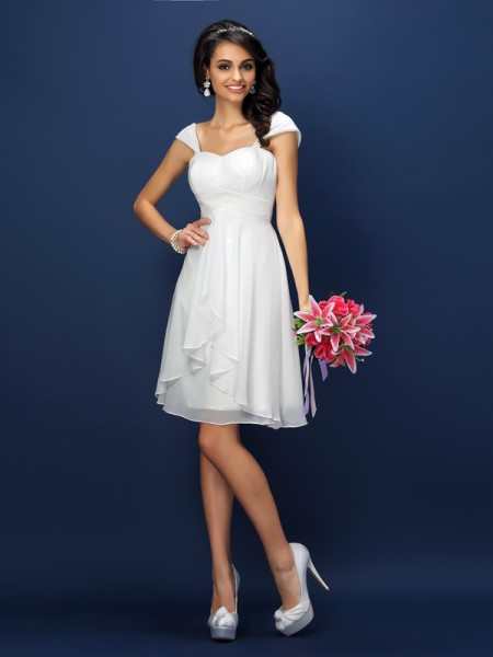 A-Line/Princess Sleeveless Pleats Short/Mini Straps Chiffon Bridesmaid Dresses