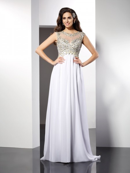 A-Line/Princess Sleeveless Ruffles Floor-Length Bateau Chiffon Dresses