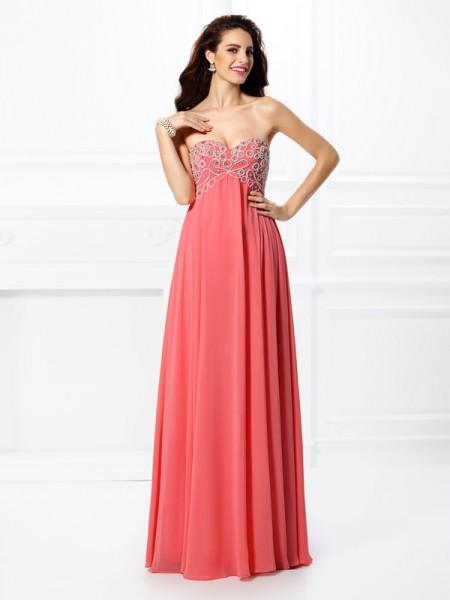 A-Line/Princess Sleeveless Beading Floor-Length Sweetheart Chiffon Dresses