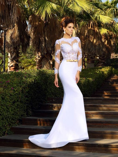 Sheath/Column Long Sleeves Applique Court Train Scoop Satin Wedding Dresses
