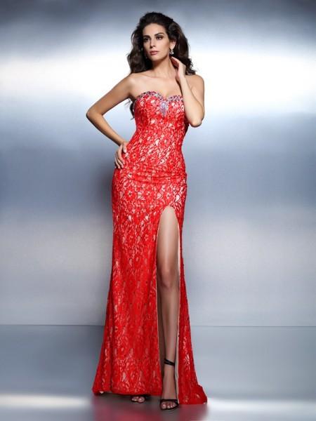 Trumpet/Mermaid Sleeveless Beading Floor-Length Sweetheart Lace Dresses