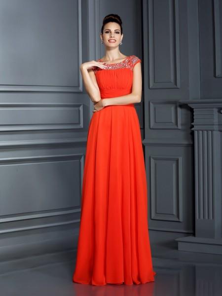 A-Line/Princess Sleeveless Beading Floor-Length Bateau Chiffon Dresses