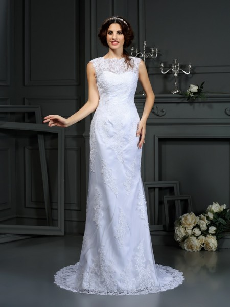 Sheath/Column Sleeveless Lace Court Train High Neck Lace Wedding Dresses