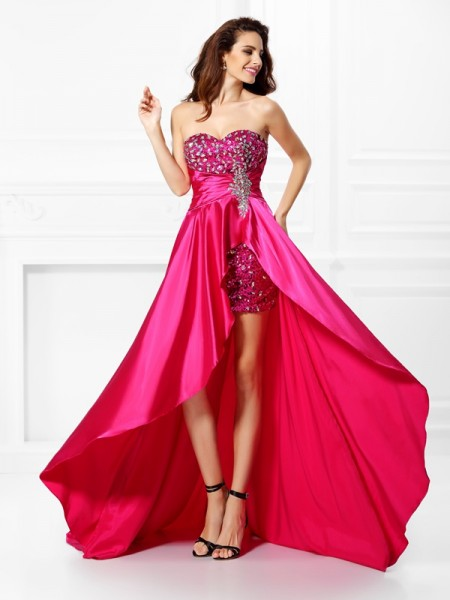 A-Line/Princess Sleeveless Beading Paillette Asymmetrical Sweetheart Elastic Woven Satin Dresses