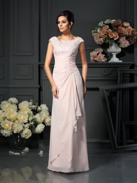 A-Line/Princess Sleeveless Lace Floor-Length Scoop Chiffon Mother of the Bride Dresses