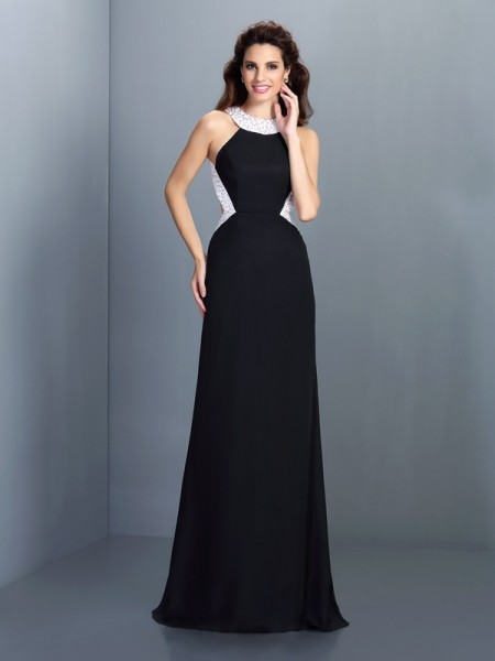 A-Line/Princess Sleeveless Beading Sweep/Brush Train High Neck Chiffon Dresses