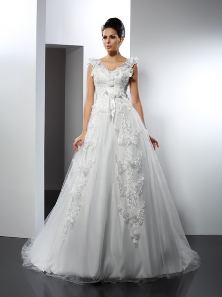 A-Line/Princess Sleeveless Lace Cathedral Train Straps Satin Wedding Dresses