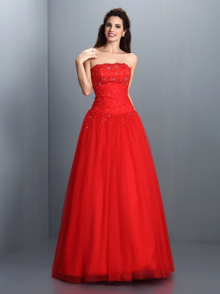 Ball Gown Sleeveless Beading Floor-Length Strapless Organza Dresses