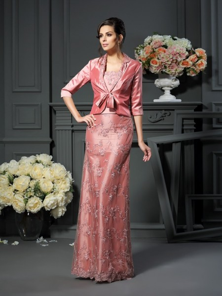 A-Line/Princess Sleeveless Lace Floor-Length Straps Taffeta Mother of the Bride Dresses