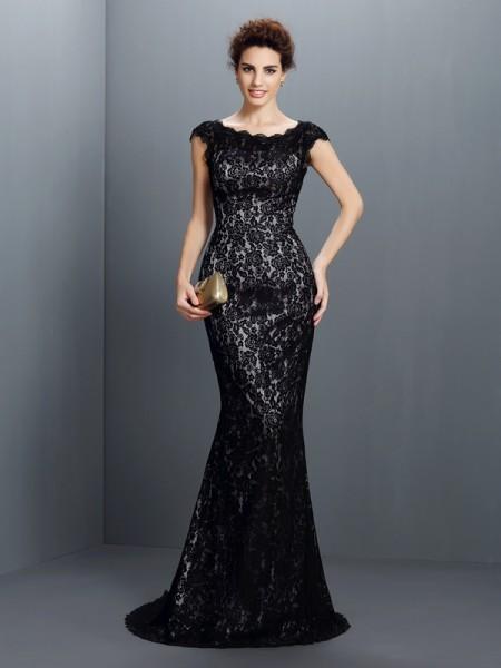 Trumpet/Mermaid Short Sleeves Lace Sweep/Brush Train Bateau Lace Dresses