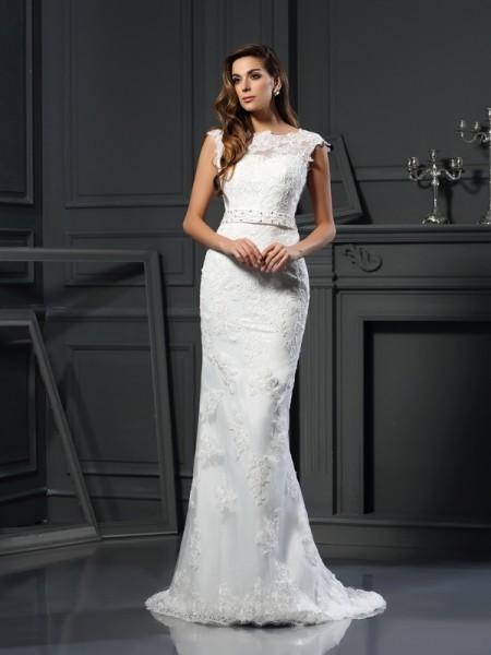 A-Line/Princess Sleeveless Lace Court Train Bateau Satin Wedding Dresses