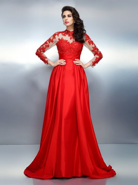 A-Line/Princess Long Sleeves Applique Sweep/Brush Train High Neck Satin Dresses