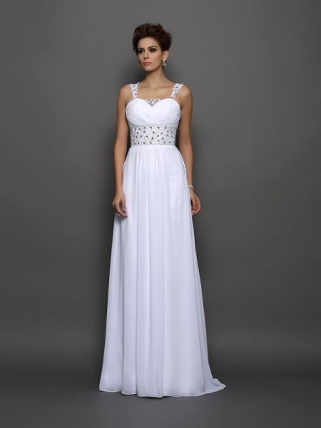A-Line/Princess Sleeveless Beading Court Train Straps Chiffon Wedding Dresses