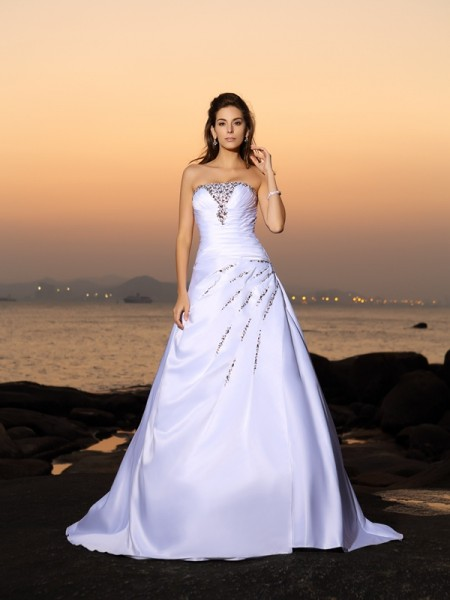 A-Line/Princess Sleeveless Beading Chapel Train Strapless Satin Wedding Dresses