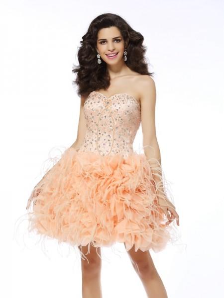 A-Line/Princess Sleeveless Beading Short/Mini Sweetheart Organza Cocktail Dresses