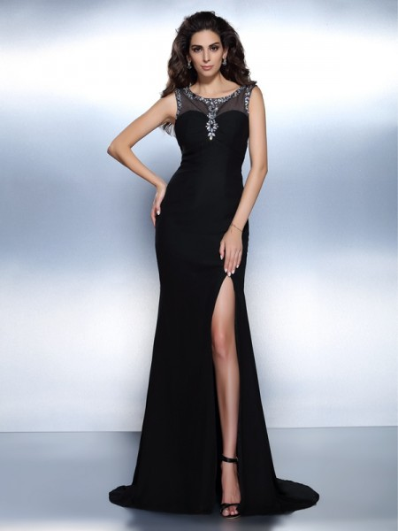 Trumpet/Mermaid Sleeveless Beading Sweep/Brush Train Bateau Chiffon Dresses