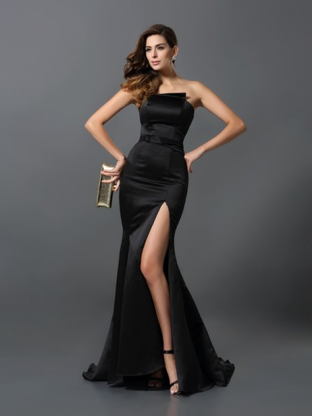 Sheath/Column Sleeveless Sash/Ribbon/Belt Floor-Length Strapless Satin Dresses