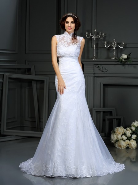 Trumpet/Mermaid Sleeveless Lace Court Train Sweetheart Satin Wedding Dresses