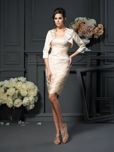 Sheath/Column Sleeveless Pleats Knee-Length Strapless Satin Mother of the Bride Dresses