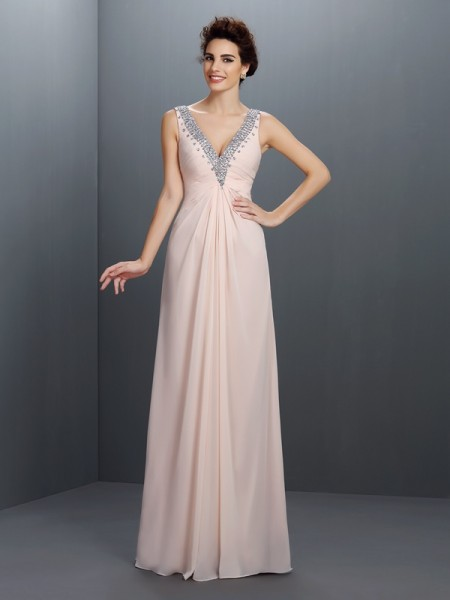 A-Line/Princess Sleeveless Beading Floor-Length V-neck Chiffon Dresses