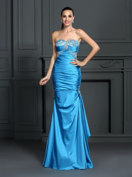 Trumpet/Mermaid Sleeveless Beading Floor-Length Sweetheart Elastic Woven Satin Dresses