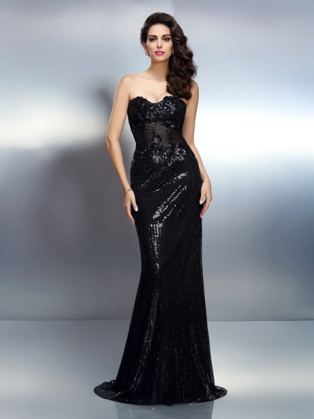 Trumpet/Mermaid Sleeveless Applique Sweep/Brush Train Sweetheart Lace Dresses