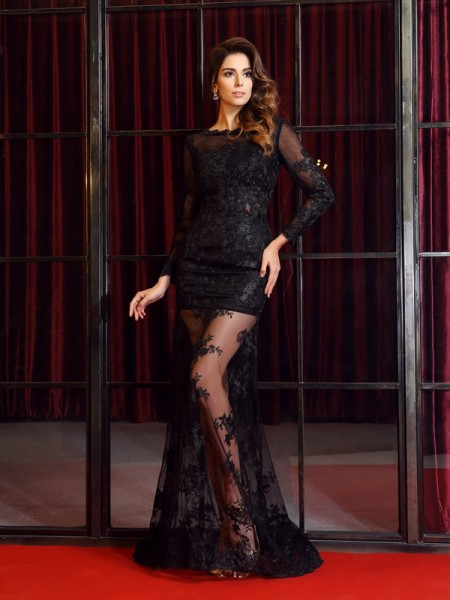 Trumpet/Mermaid Long Sleeves Applique Sweep/Brush Train Bateau Lace Dresses