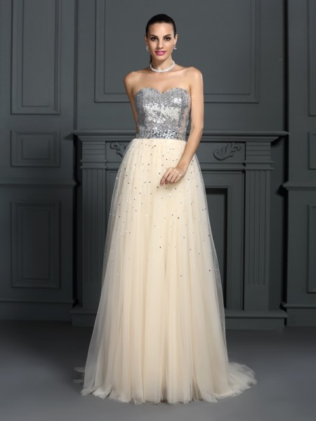 A-Line/Princess Sleeveless Beading Floor-Length Sweetheart Lace Dresses