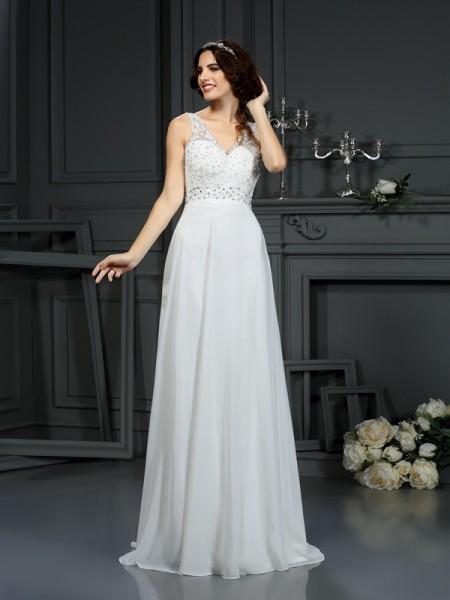 A-Line/Princess Sleeveless Lace Sweep/Brush Train V-neck Chiffon Wedding Dresses