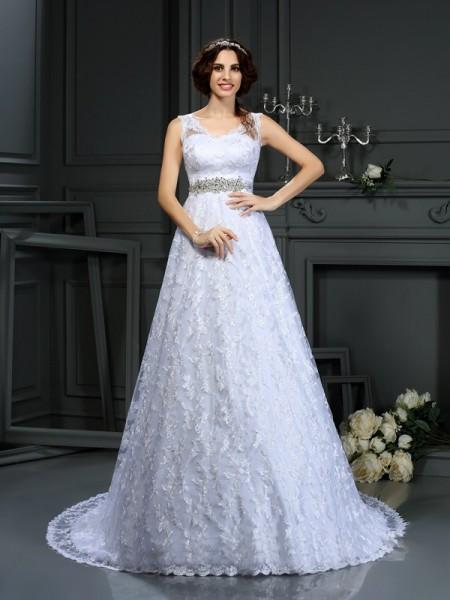 A-Line/Princess Sleeveless Lace Court Train V-neck Satin Wedding Dresses
