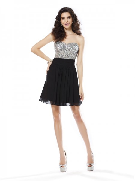 A-Line/Princess Sleeveless Beading Short/Mini Sweetheart Chiffon Cocktail Dresses