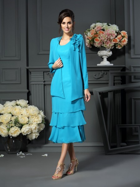 A-Line/Princess Sleeveless  Tea-Length Scoop Chiffon Mother of the Bride Dresses